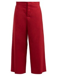 Marni Cropped Wool Trousers Burgundy