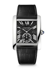 Cartier Tank Mc Automatic Stainless Steel And Alligator Strap Watch Black No Color