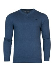 Raging Bull V Neck Cotton Cashmere Sweater Mid Blue