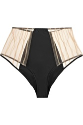 Kiki De Montparnasse Muse High Waisted Satin And Lace Corset Briefs Black