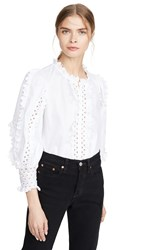 Rebecca Taylor Long Sleeve Petal Embroidered Top Milk