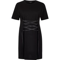 River Island Womens Black Corset Front Oversized T Shirt Dress