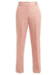 Ann Demeulemeester Alexa Cotton Blend Brocade Trousers Pink