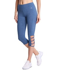 Danskin Heathered Cropped Leggings Denim Heat