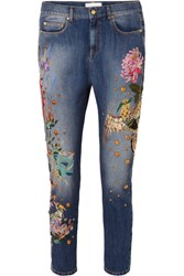 Zuhair Murad Embroidered Embellished Low Rise Slim Boyfriend Jeans Blue
