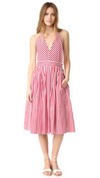 Mds Stripes V Neck Halter Dress Red Stripe