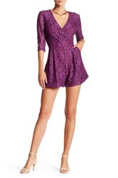 Alexia Admor 3 4 Length Sleeve Lace Romper Purple