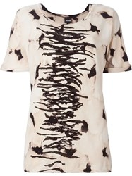 Just Cavalli Sequin Detail Printed T Shirt Nude And Neutrals