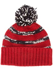 The Elder Statesman Cashmere Pom Pom Beanie Red