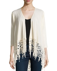 Xcvi Three Quarter Sleeve Lace Cardigan Natural