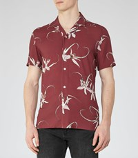 Reiss Oakhart Mens Floral Printed Shirt In Red