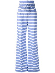 Ermanno Scervino High Rise Striped Trousers Women Cotton Acetate Cupro 38 Blue