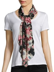 Rag And Bone Kimono Floral Cotton Silk Scarf Black Multi