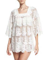Miguelina Belen Floral Lace Tunic Coverup White