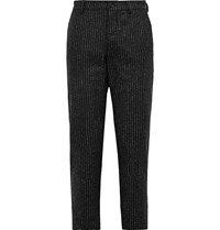 Ymc Hand Me Down Cropped Striped Wool Blend Trousers Black