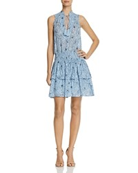 Aqua Floral Tiered Dress 100 Exclusive Navy Sky Blue