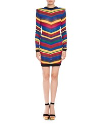 Balmain Long Sleeve Chevron Knit Dress Multi Multi Colors