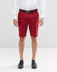 Asos Skinny Mid Length Smart Shorts In Red Red