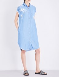 The Kooples Floral Embroidered Denim Dress Blu01
