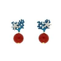 Misis Positano Earrings With Coral Paste And Enamel
