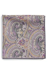 Men's Robert Talbott Paisley Floral Wool Pocket Square