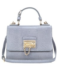 Dolce And Gabbana Monica Small Embossed Leather Shoulder Bag Grey