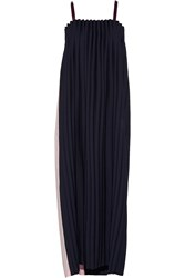 Opening Ceremony Two Tone Pleated Cady Maxi Dress Blue