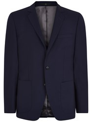 Jaeger Textured Cotton Slim Fit Blazer Navy