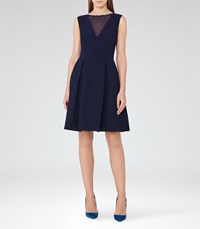 Reiss Marlowe Womens Sheer Panel Fit And Flare Dress In Blue