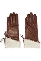 Agnelle Shearling Trimmed Leather Gloves Chocolate
