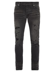 Balmain Distressed Slim Leg Biker Jeans Black