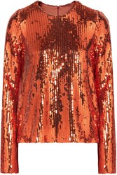 Galvan Clara Sequined Tulle Top Bronze