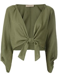 Adriana Degreas Billowing Sleeves Tied Blouse 60