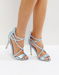 Miss Kg Fiesta Metallic Strap Heeled Sandals Blue