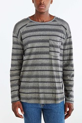 Koto Daimyo Blocked Stripe Raglan Tee Light Grey