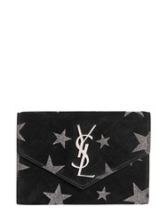 Saint Laurent Glitter Stars Suede Wallet