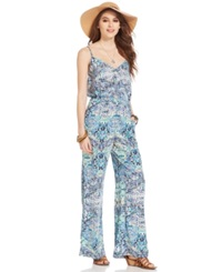 Ultra Flirt Juniors' Printed Jumpsuit Arabian Chevron Khaki Aruba Blue