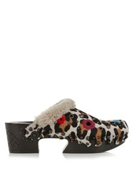 Bottega Veneta Leopard Print Calf Hair And Shearling Clog Sandals