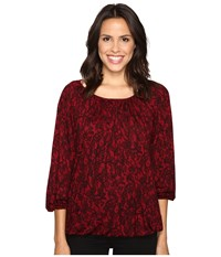 Michael Michael Kors Umbria Lace Peasant Top Cinnabar Women's Clothing Red