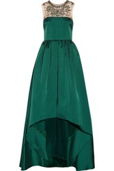 Mikael Aghal Embellished Satin Twill Gown Forest Green