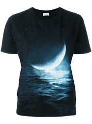 Saint Laurent Moon Print T Shirt Black
