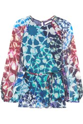 Matthew Williamson Mosaic Printed Silk Chiffon Blouse Blue