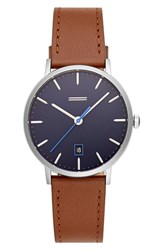 Uri Minkoff Norrebro Leather Watch 40Mm Brown Navy Silver