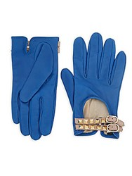 Valentino Studded Buckled Leather Driver Gloves Cobalt Blue