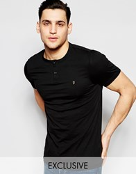 Farah T Shirt With Henley Neck Slim Fit Exclusive Black