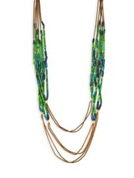 Stephanie Kantis Green House Blue Amazonite White Quartz And Chocolate Hematite Beaded Multi Strand Necklace Bright Green