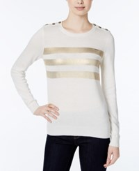 Tommy Hilfiger Button Detail Metallic Stripe Sweater Only At Macy's Ivory