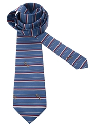 Pierre Cardin Vintage Striped Tie Blue