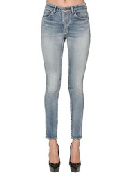Saint Laurent Skinny Cotton Blend Denim Jeans Light Blue
