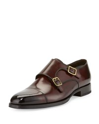 Tom Ford Wessex Double Monk Strap Leather Loafer Burgundy